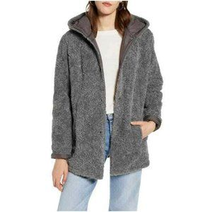 Halogen Reversible Hooded Coat Faux Fur Quilted Gray Size Small NWT
